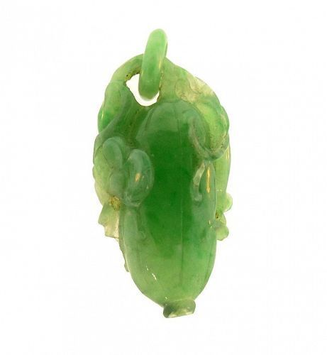 Chinese Carved Type A Green Jadeite Melon & Crane Pendant