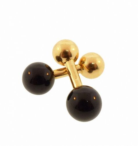 Tiffany & Co. 14K Gold & Onyx Barbell Cufflinks