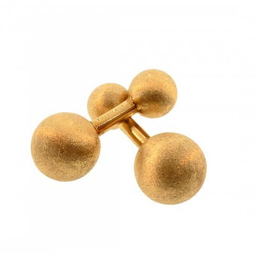 Tiffany Florentined 14K Gold Barbell Cufflinks