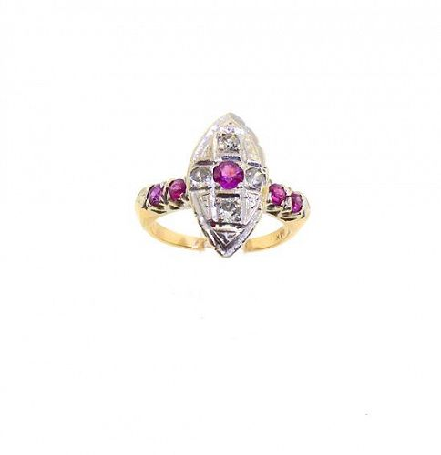 Edwardian 14K Gold, Diamond & Ruby Ring