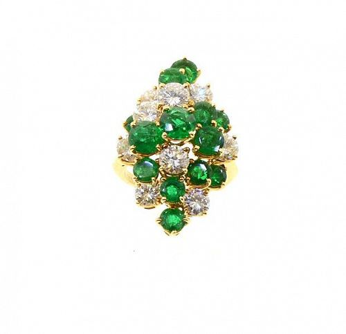 Boucheron 18K Gold, Diamond & Emerald Cocktail Ring