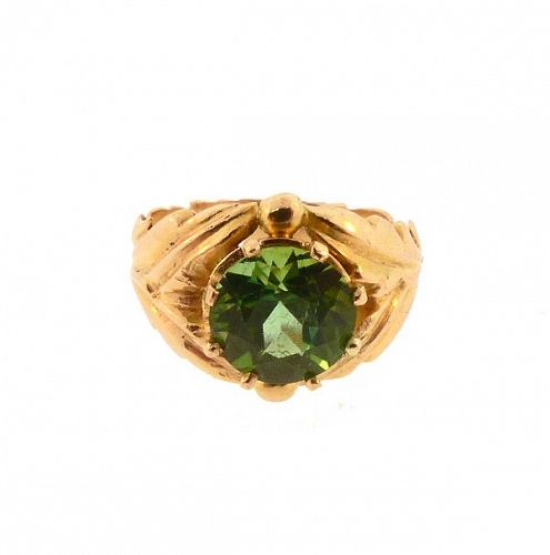 Edward Everett Oakes Arts & Crafts 14K Gold & Green Tourmaline Ring