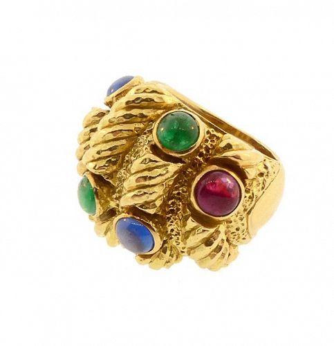 David Webb 18K Gold, Sapphire, Emerald & Ruby Ring