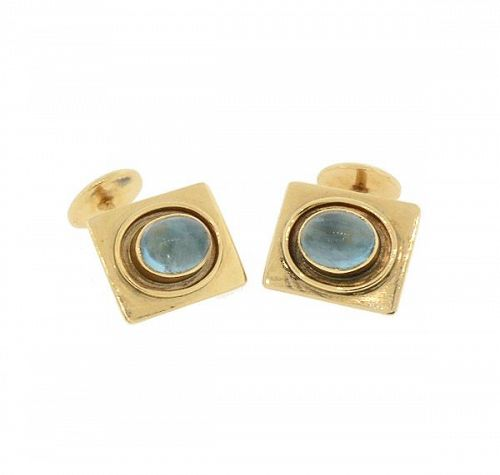 Art Deco 14K Gold & Cabochon Blue Tourmaline Cufflinks
