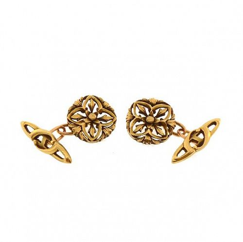 French Art Nouveau Gothic Revival 18K Yellow Gold Cufflinks