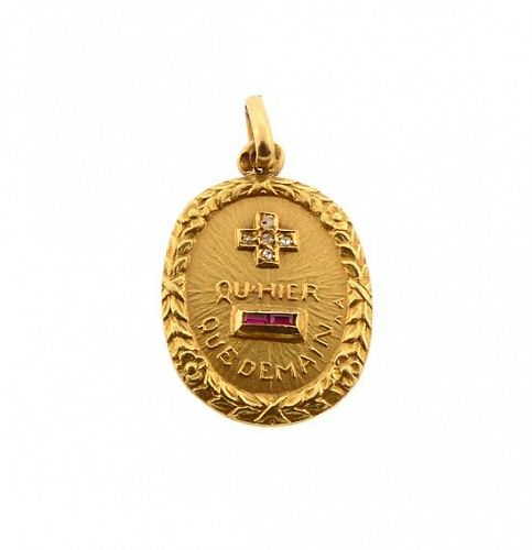A Augis French 18K Gold Diamond Ruby PLUS QU'HIER Love Token Pendant