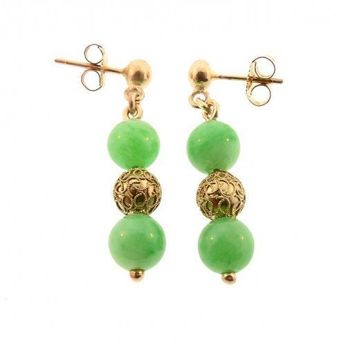 Antique Chinese Type A Green Jade & 14K Gold Earrings