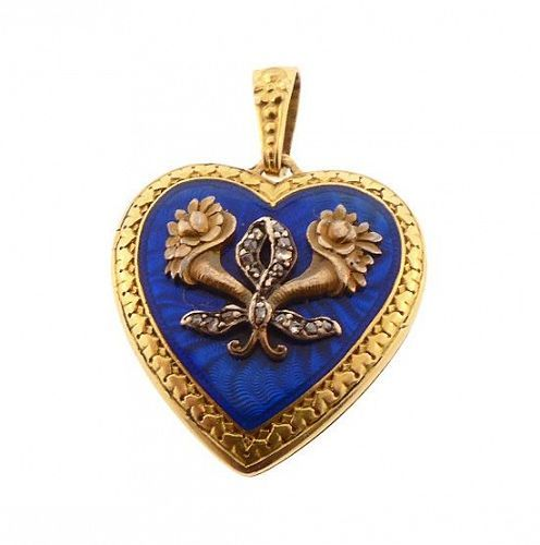 Edwardian French 18K Gold, Guilloch�© Enamel & Diamond Heart Locket