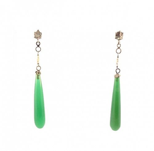 Art Deco 18K White Gold, Green Chalcedony & Pearl Drop Earrings