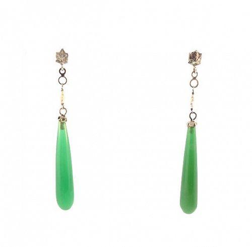 Art Deco 18K White Gold, Green Chalcedony & Pearl Drop Earrings