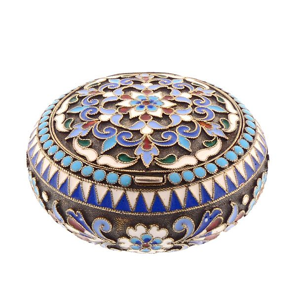Imperial Russian Enameled Silver Patch Pill Box by Nicholai Alexeyev