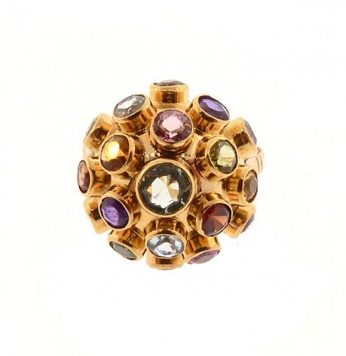 H Stern 18K Rose Gold Multi-Gemstone Sputnik Ring