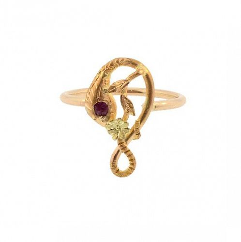 Antique French 18K Gold & Ruby Snake Stickpin Conversion Ring