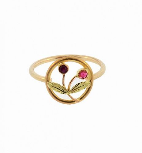 Antique French 18K Gold & Ruby Cherries Conversion Stickpin Ring