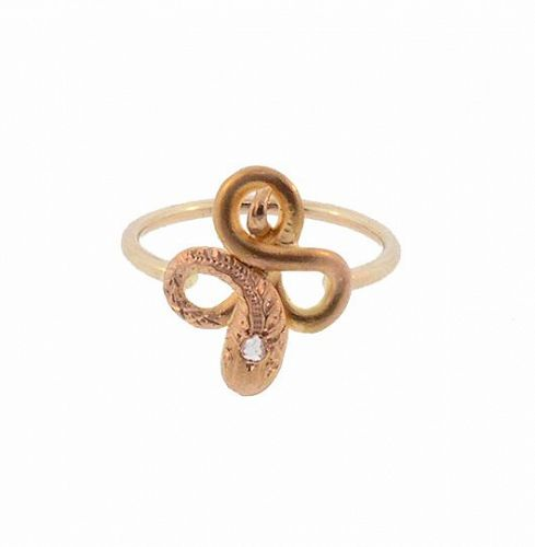 Antique French 18K Gold & Diamond Snake Conversion Stickpin Ring