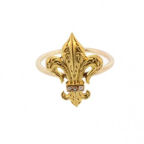 Antique French 18K Gold & Pearl Fleur-de-Lis Stickpin Conversion Ring