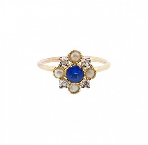 Antique French 18K Sapphire Pearl Diamond Stickpin Conversion Ring