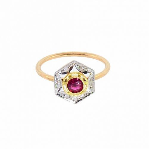Antique French 18K Gold Platinum Ruby Diamond Stickpin Conversion Ring