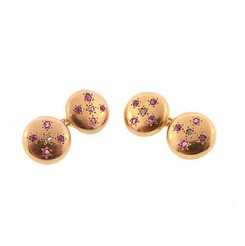 French 18K Gold, Ruby & Diamond Double-Sided Cufflinks
