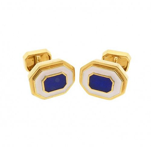 David Webb 18K Yellow Gold, Blue & White Enamel Cufflinks