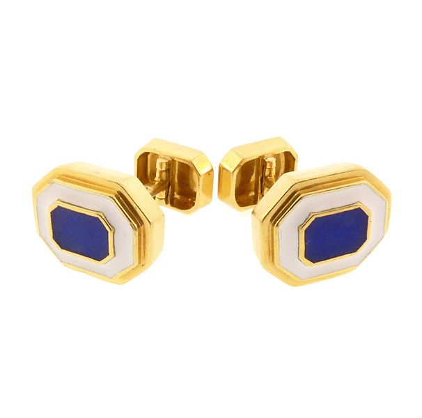 David Webb 18K Yellow Gold, Blue & White Enamel Cufflinks