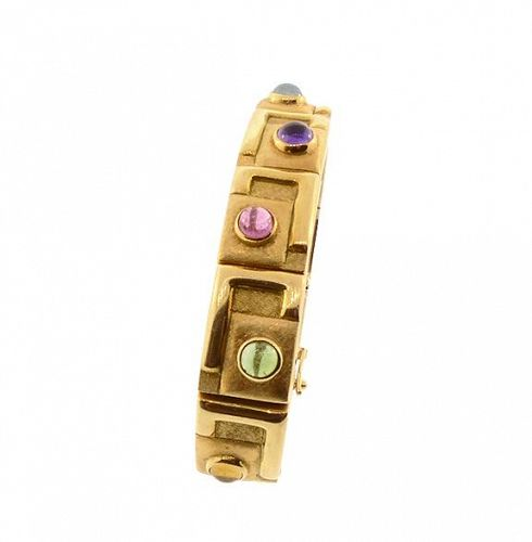 Modernist Bruno Guidi 18K Gold & Multicolored Gemstone Bracelet