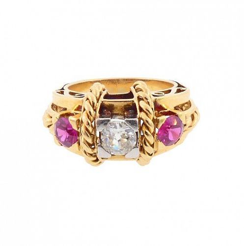 French Retro 18K Gold, Platinum, Diamond & Ruby Ring by Albert Rolland
