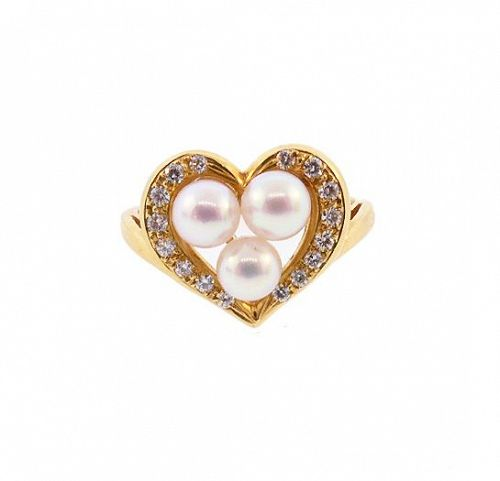 Mikimoto 18K Gold, AAA Akoya Pearl & Diamond Heart Ring