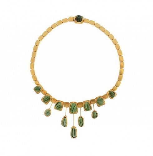 Haroldo Burle Marx 18K Gold & Forma Livre Green Tourmaline Necklace