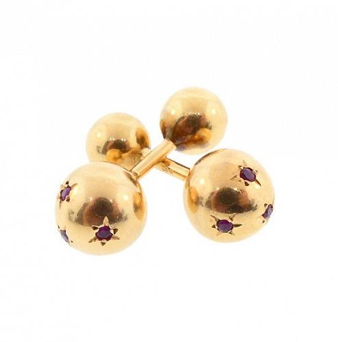 Retro 14K Yellow Gold & Ruby Barbell Cufflinks