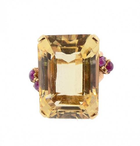 Retro 14K Gold, 23-Carat Citrine & Ruby Statement Ring