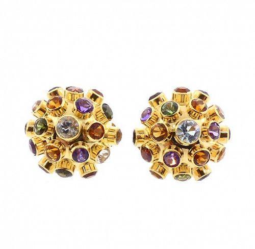 H Stern 18K Gold & Multi-Gemstone Sputnik Earrings