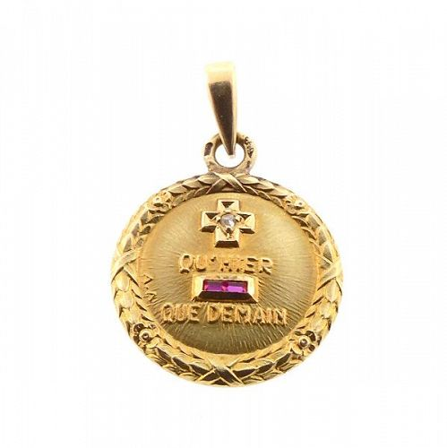 A. Augis French 18K Gold Diamond Ruby PLUS QU�HIER Love Token Pendant