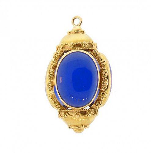 Venetian Etruscan 18K Gold & Blue Chaledony Fob Charm Pendant