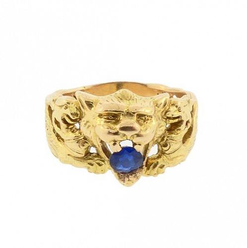Victorian Mythological Griffin 18K Gold Blue Sapphire Gentleman's Ring