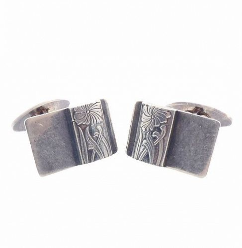 Polish Art Deco Style Sterling Silver Cufflinks