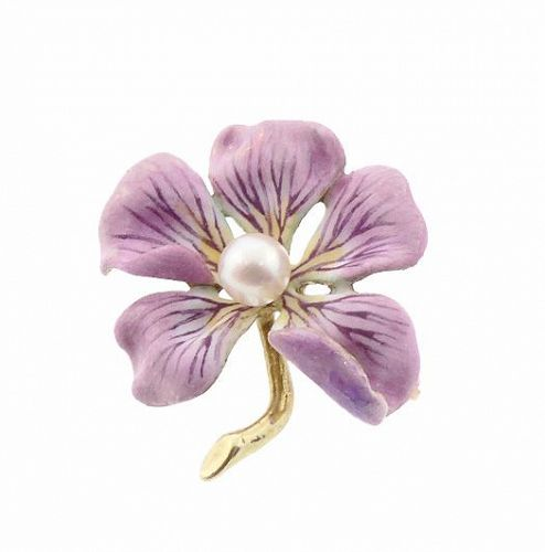 Art Nouveau 14K Gold Enamel & Pearl Flower Brooch