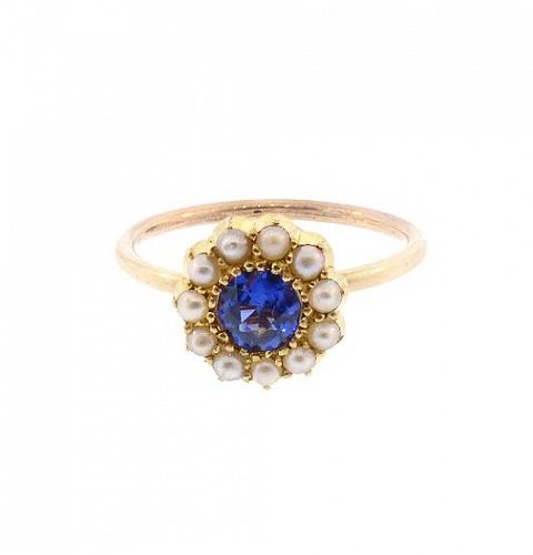 18K Gold Color-Change Sapphire & Pearl Stick Pin Conversion Ring