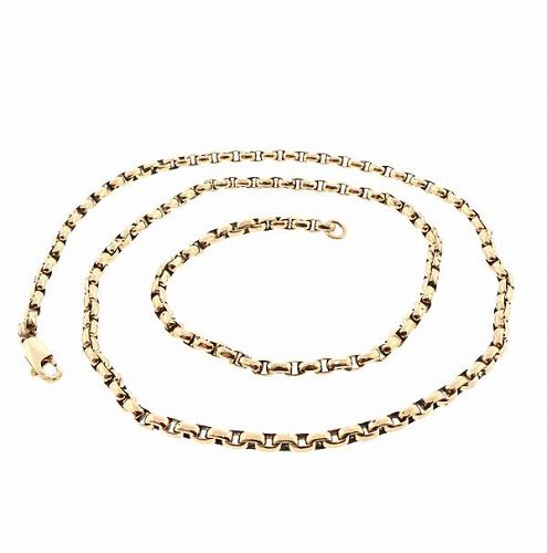 Edwardian Heavy 12K Gold Belcher Chain Necklace 22-5/8""