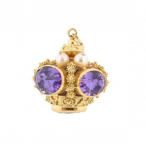 Venetian Etruscan 18K Gold, Amethyst & Pearl Crown Fob Charm Pendant