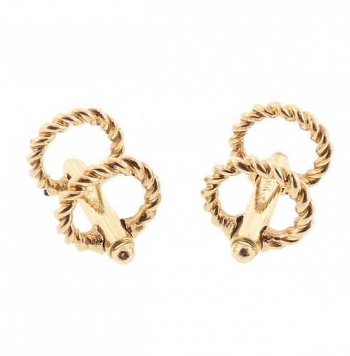 Art Deco 14K Gold Stirrup Cufflinks