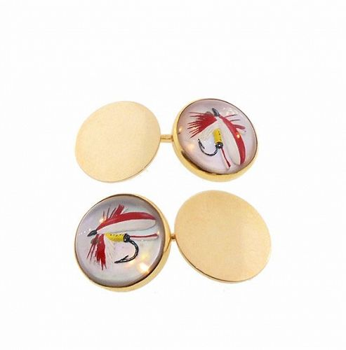 Edwardian 14K Gold Essex Crystal Fly Fishing Lure Cufflinks