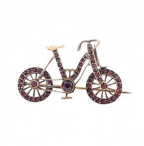 Figural Victorian Garnet & Gilt Silver Bicycle Pin