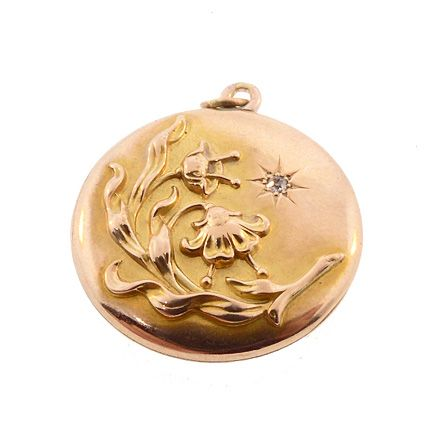 Art Nouveau 10K Gold & Diamond Floral Locket
