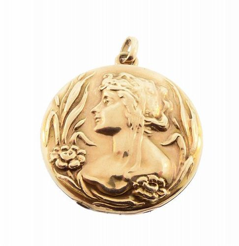 Art Nouveau Lady 10K Gold Locket