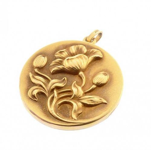 Art Nouveau 14K Gold Poppy Locket