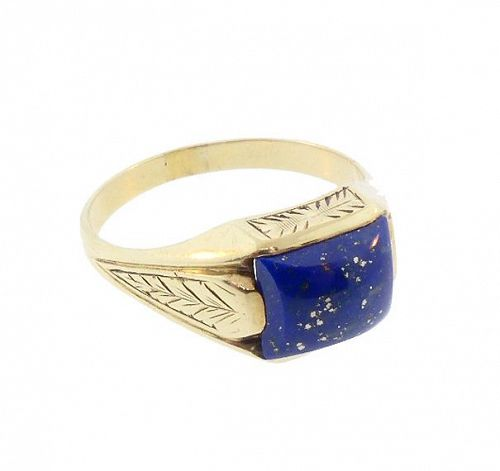 14K Gold Art Deco Egyptian Revival Lapis Man's Ring