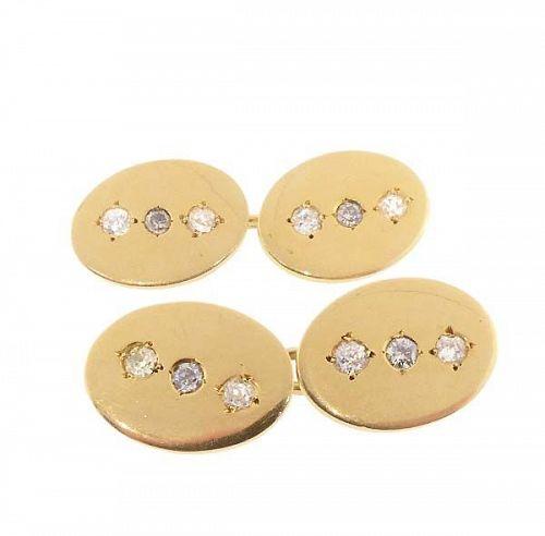 Edwardian 18K Gold & Diamond Cufflinks