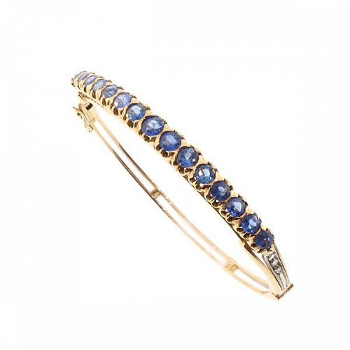 Edwardian Style 18K Gold, Sapphire & Diamond Bangle Bracelet