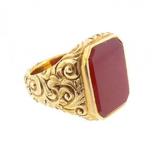 Victorian  18K Gold & Carnelian Gentleman's Signet Ring